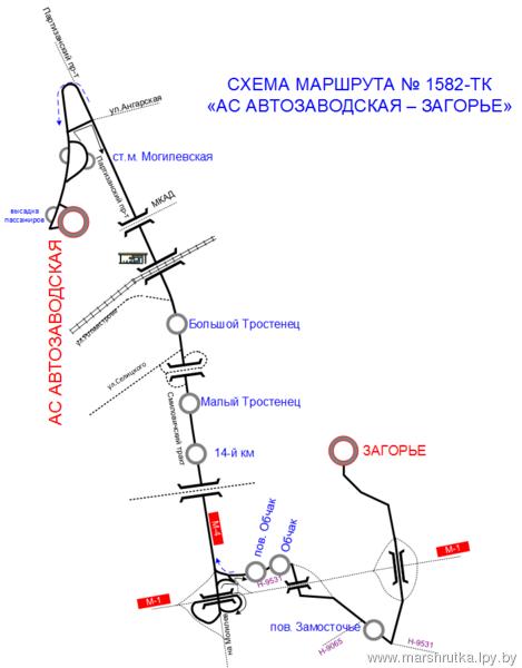 Схема движения 351 маршрута